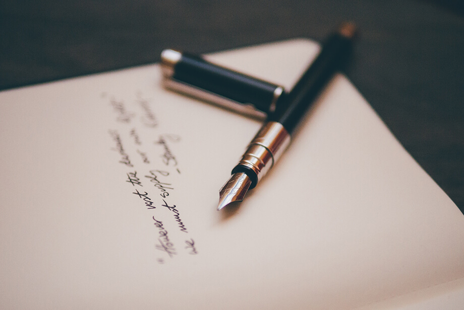 Handwritten letter, representing the work we will do for you.