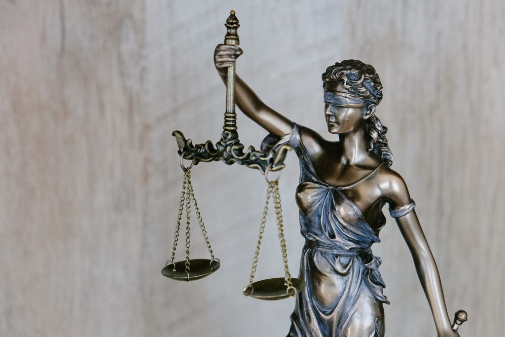Statue of scales of justice.